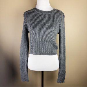 Revolve• Grey Ribbed Crop Sweater w/ slit sleeve